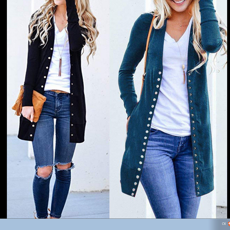 Spring Autumn Long Jacket Coat Women Ladies Long Sleeve Slim Knitted Cardigan Outwear