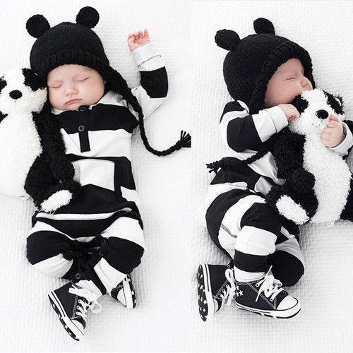 Pasgeboren Baby Jongen Meisjes Gestreepte Katoenen Romper Lange Mouw Jumpsuit Outfit Kleding