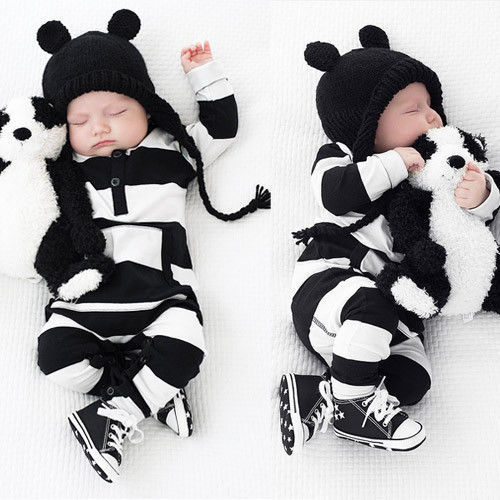 Newborn <font><b>Baby</b></font> Boy Girls Striped Cotton <font><b>Romper</b></font> Long Sleeve Jumpsuit Outfit Clothes image