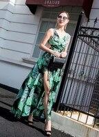2019 Women V Neck Slit Backless Boho Dress Summer Fashion Sleeveless Beach Dress Sexy Hollow Out Foliage Print Dress