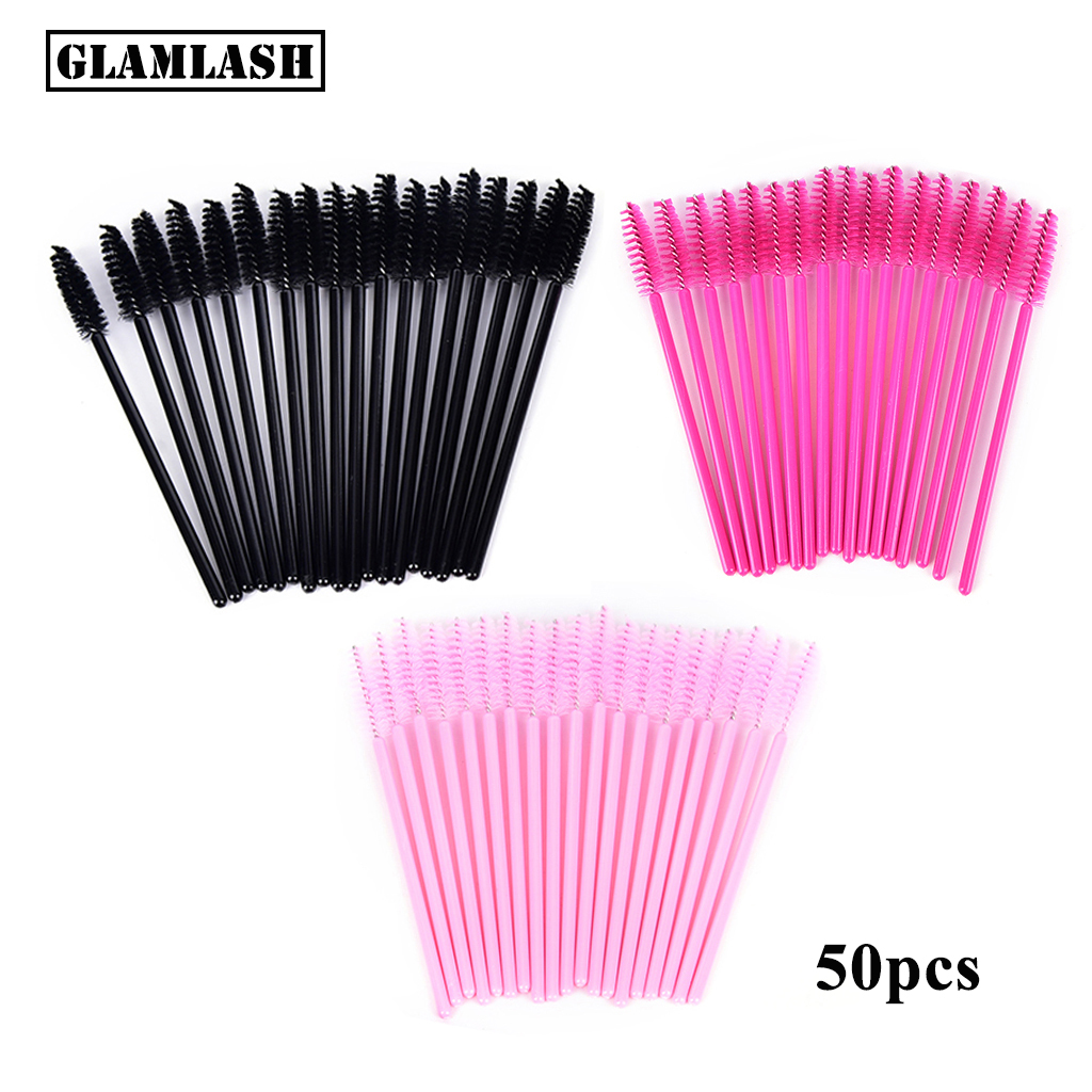 GLAMLASH Premium 50Pcs Disposable Eyelash Extension Cleaning Brush Micro Mascara Wand Lash Eyebrow Brush Applicator Spoolers