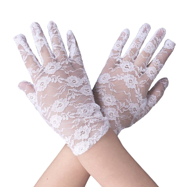 1 Pair of Short Lace Gloves UV Protection Full Finger Gloves Outdoor Driving Gloves Prom Party Driving Wedding Gloves 1