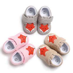 Первые детские кроссовки для новорожденных, унисекс, с рисунком лисы, на мягкой подошве, для детей 0-18 месяцев, теплая зимняя обувь
