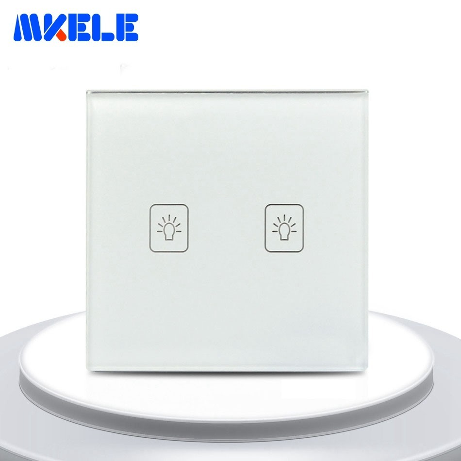 EU Standard Touch Wall Switch 2 Gang 2 Way Light Switch For Home White Tempered Glass Panel Touch On Off SwitchEU Standard Touch Wall Switch 2 Gang 2 Way Light Switch For Home White Tempered Glass Panel Touch On Off Switch