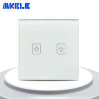 EU Standard Touch Wall Switch 2 Gang 2 Way Light Switch For Home White Tempered Glass Panel Touch On Off Switch