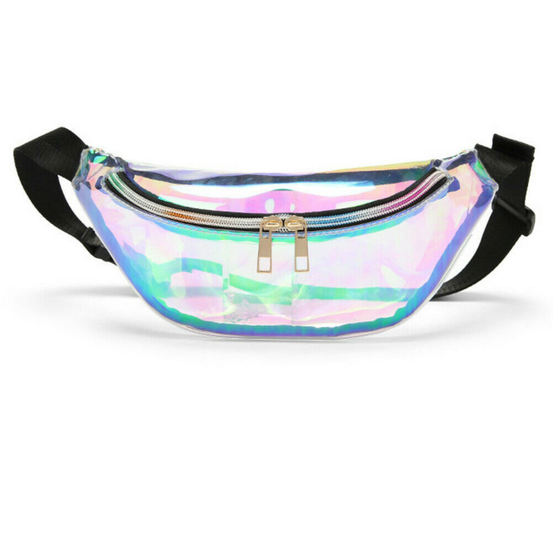 2019 New Design Fashion Transparent Purse Laser PVC Clear Waist Packs For Women Girls Buckle Coin Pouch Key Pocket Shoulder Bag