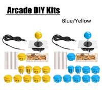 Arcade Joystick DIY Kit Not Delay USB Controller PC to Arcade Joystick with Push Button Wire Harness Blue Yellow