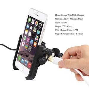 Image 2 - אוניברסלי אופנועים אופני סקוטר טרקטורונים 19 30MM כידון Rearview מראה טלפון נייד מחזיק הר Bracket USB מטען
