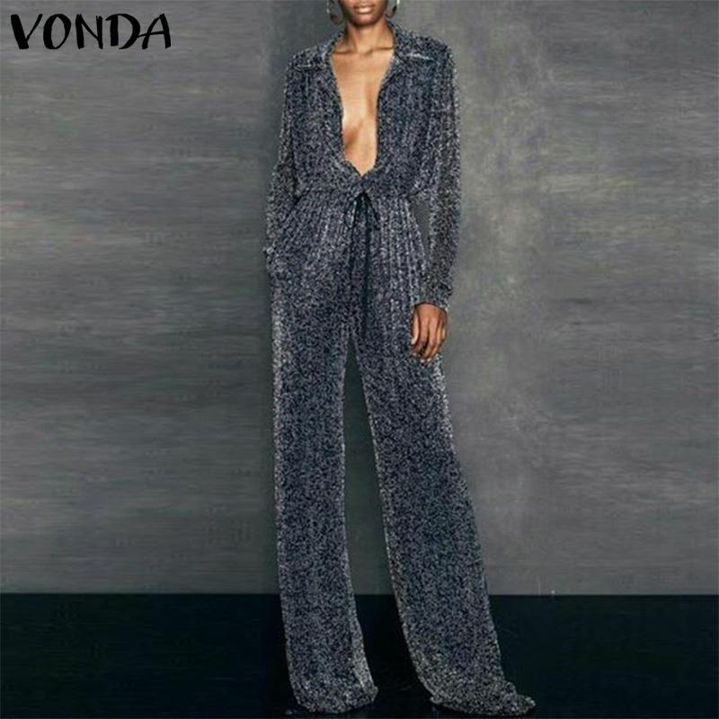 VONDA New 2019 Bling Romper Womens   Jumpsuit   Streetwear Sexy Deep V Neck Party Playsuit Retro Wide Leg Pant Shining Overall Baggy