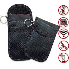 Carbon Fiber Anti-Theft RFID Electromagnetic Shield Key Case Leather Car Wallets Men Holder Housekeeper Keys 2019