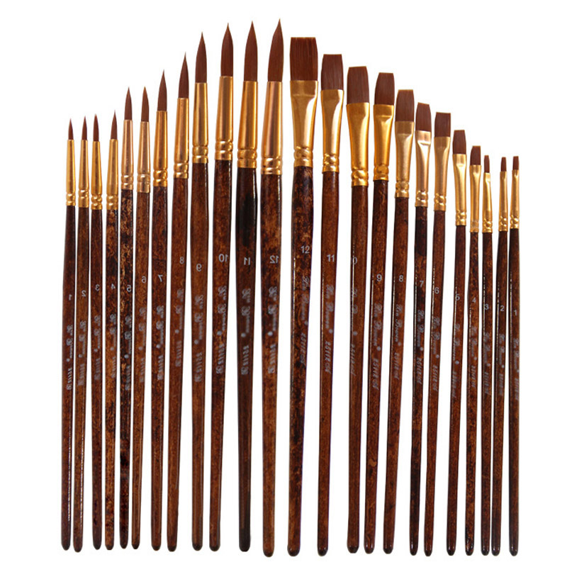 12 Pcs Acrylic Oil Watercolour Painting brush Watercolor Pen Artist By Number Craft Art Supplies Model Paint Watercolor Brush Se image