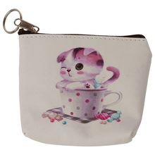 Women Girls Cute Zip Leather Coin Purse Wallet Bag Change Pouch Key Card Holder #27 Pink
