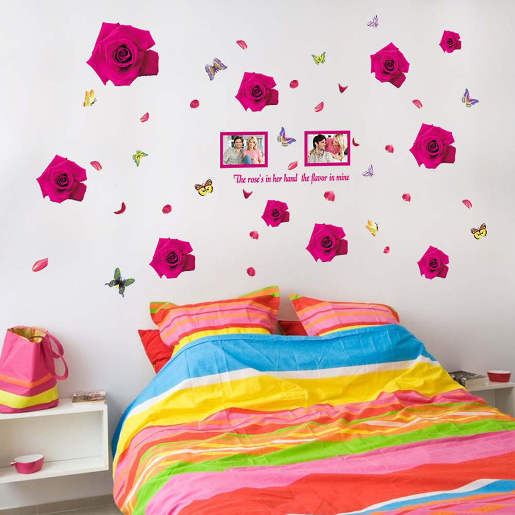 1pc Creative Non Toxic Removable Peel And Stick Romantic Hot Pink Rose Wallpaper Wall Stickers Wall Decals Tv Background Wall Stickers Aliexpress