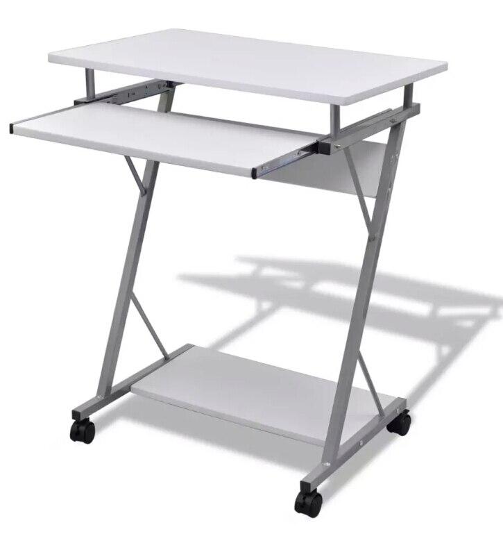 VidaXL bureau d'ordinateur tiroir Out plateau blanc mobilier bureau étudiant Table ordinateur portable ordinateur portable Table de bureau avec roulettes étagère inférieure