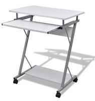 VidaXL Computer Desk Pull Out Tray White Furniture Office Student Table Laptop Notebook Lap Desk Table With Castors Bottom Shelf