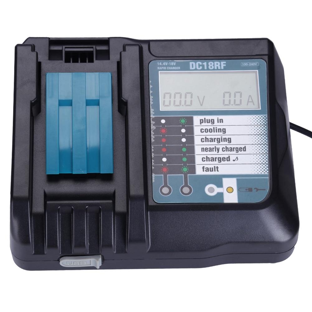 FFYY-14.4V 18V Li-Ion Battery Charger Voltage Current Lcd Digital Display For Makita Dc18Rf Bl1830 Bl1815 Bl1430 Dc14Sa Dc18Sc