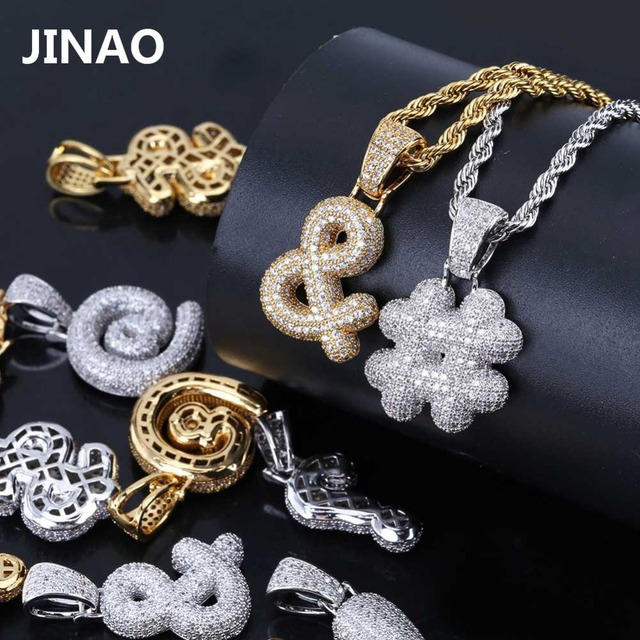 JINAO Hip Hop Custom Jewelry Iced Out Bubble Exclamation Mark Dollar Sign Pendants Necklaces Micro Pave Zircon Charm Necklace