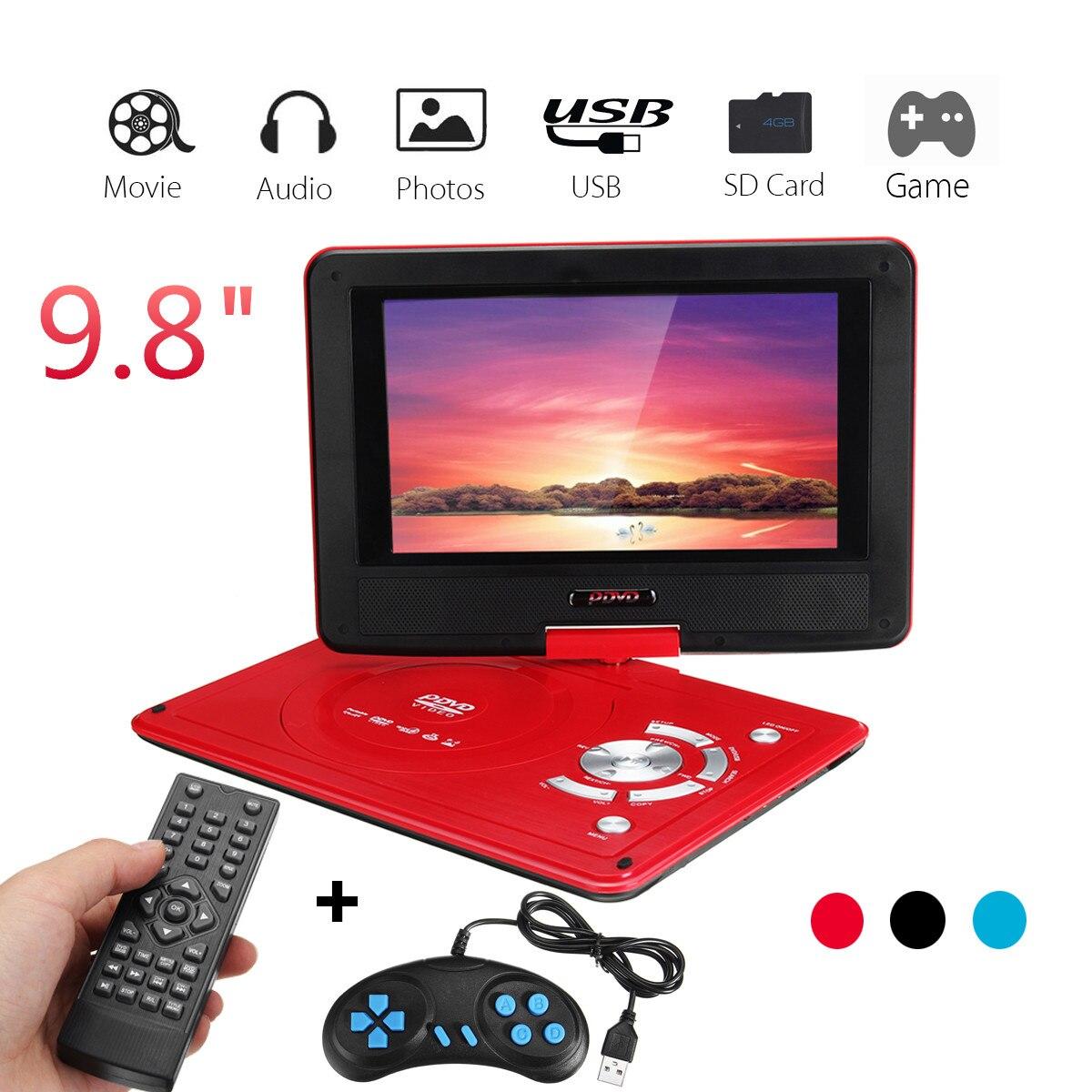 9,8 pulgadas reproductor de DVD de coche recargable portátil de juego de vídeo de Control de 270 grados pantalla con juego de Radio FM TV AV lector de tarjeta