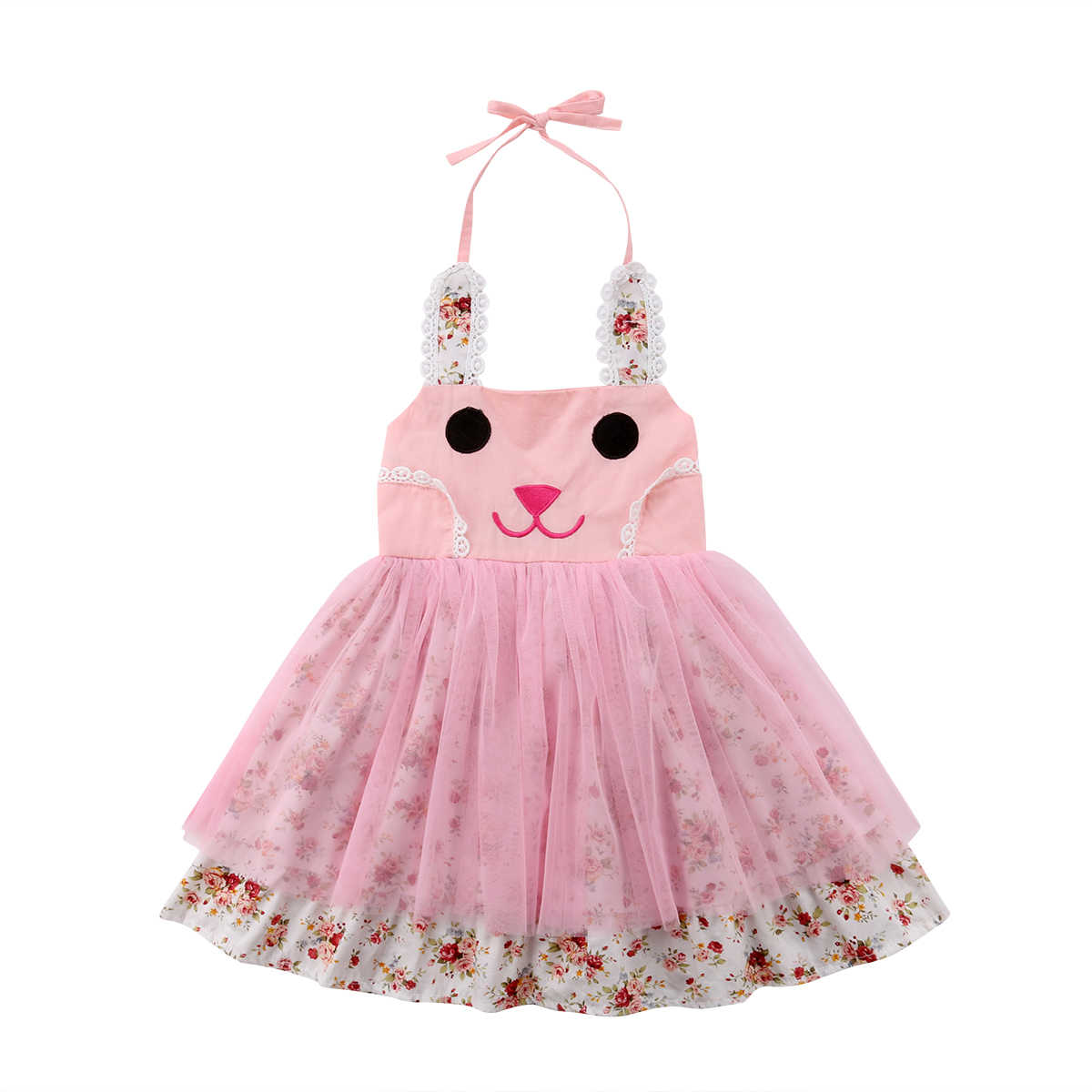 6507b0a55 ... US Toddler Baby Girl Easter Bunny Cartoon Dress Floral Princess Party  Outfit Set ...