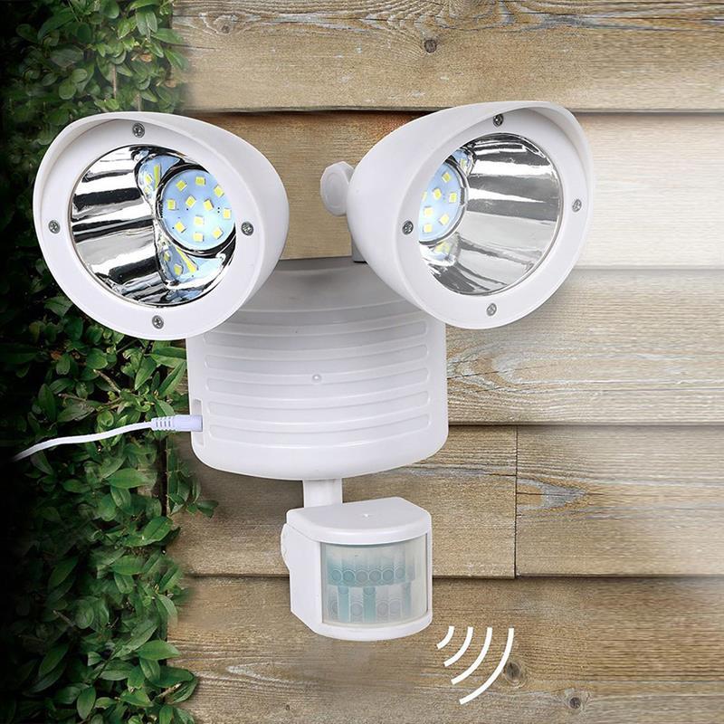 Duplo-Headed 22 LEVOU Holofotes Solar Indução Sensor de Corpo Humano LEVOU Porta Luzes Do Jardim Ao Ar Livre Iluminação Solar Camping Lâmpada