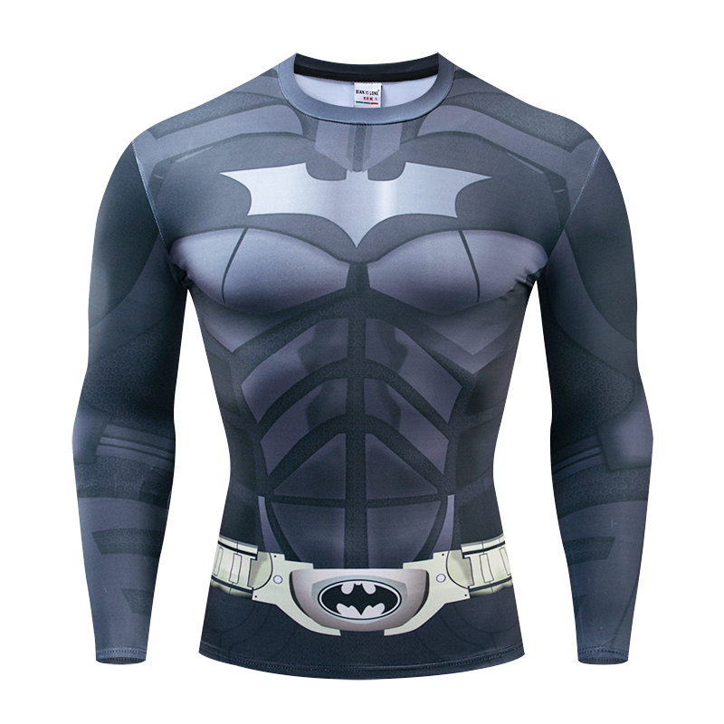 2019 New Batman 3D Printed T-shirts Men Long Sleeve Cosplay Costume Fitness Clothing Male Tops Halloween Costumes For Men