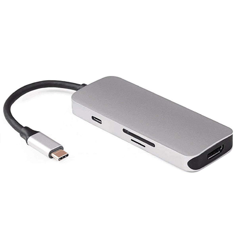 USB C Dock to HDMI and 3 Ports HUB and TF SD Card Reader and Charged Multiport Adapter