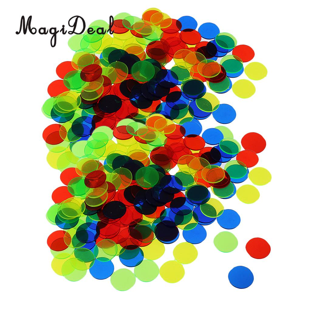 MagiDeal 200pc Translucent Bingo Chips 3/4 Inch Poker Chips For Bingo Poker Board Game Cards Casino Accessory Mixed Color
