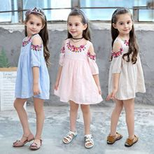 Girls dress 2019 summer new cotton short-sleeved jacquard dress print lipstick children's clothing