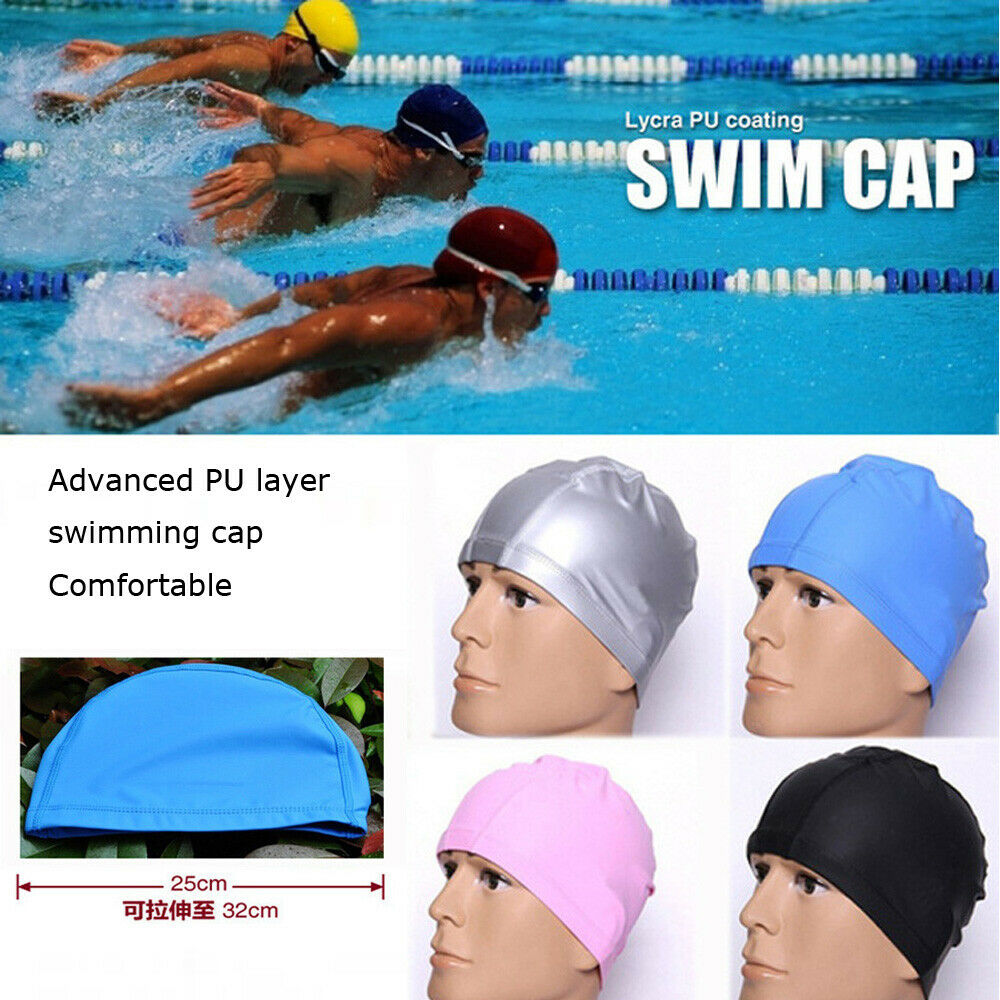 New Hot FashionSwimming Cap Unisex PU Coating Hat  Sportive Water Proof Adult Unisex Ear Cup Anti Swim Hat