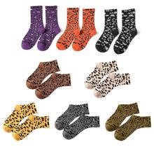 New Fashionable Womens Stocking Leopard Print Pattern Multicolor Cotton Middle Length Socks Sweat-absorbent Breathable