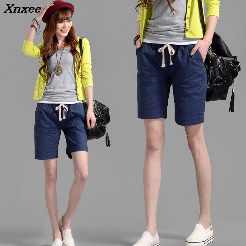 Summer Women Shorts Fashion Casual Linen Shorts Elastic Waist Shorts With Pockets Xnxee