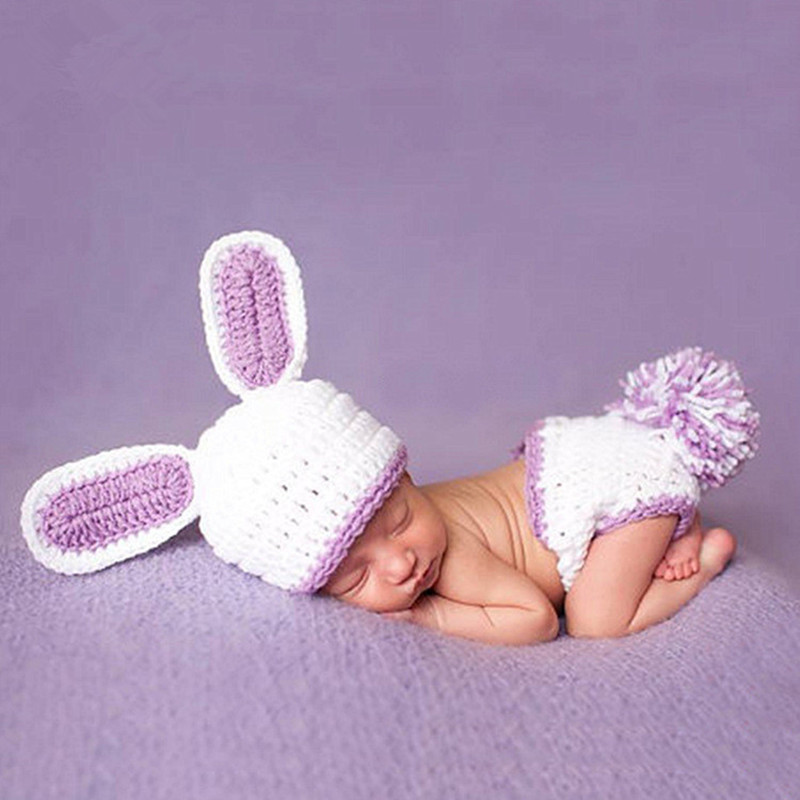 Newborn Photography Props Accessories Baby Rabbit Costume Handmade Crocheted Hats Set Baby Photo Props Baby Clothes Photography