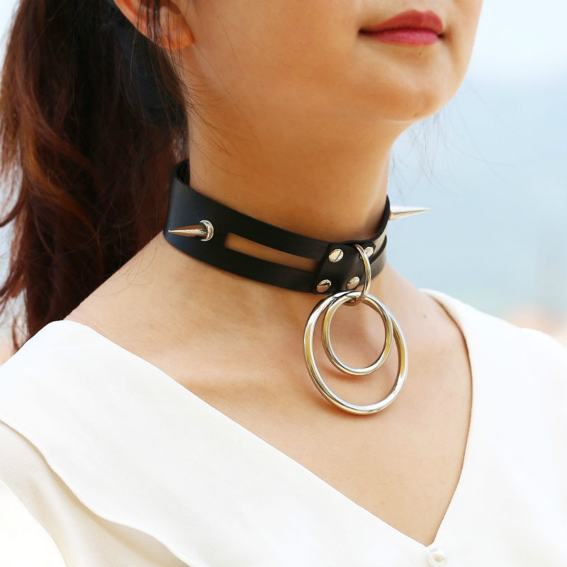 2019 Hot Bdsm Neck Collar Punk Adjustable Black Leather Choker Necklaces Rivet Circular Clavicle Chain Ddlg Collars For Women