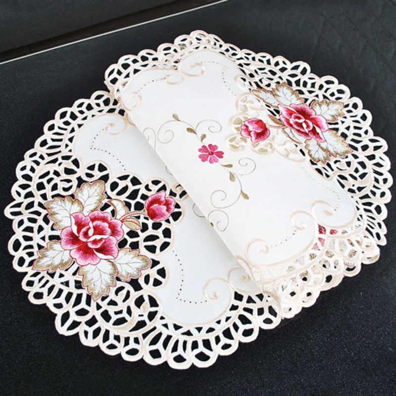 2020 owalne styl ludowy haftowane kwiatowe wzory koronkowy obrus mata na stół ślub stół na przyjęcie urodzinowe dekoracyjne nakładki olejoodporne 40*85cm