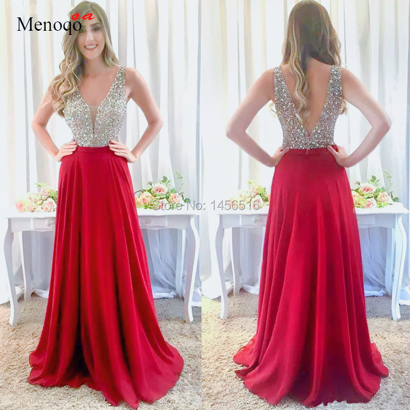 A Line Red Chiffon Sexy   Evening     Dresses   Beaded Formal Prom Gowns For Women Wear