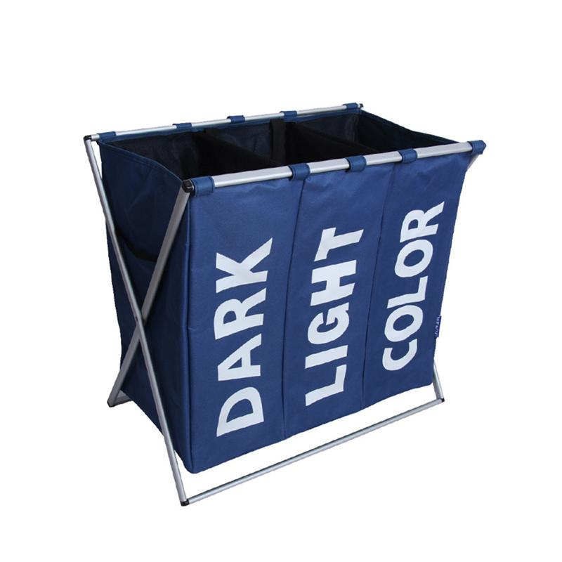 Laundry Storage Organization Basket Foldable Laundry Hamper Bathroom Laundry Bag Product Triple Compartment|Laundry Baskets| |  - title=