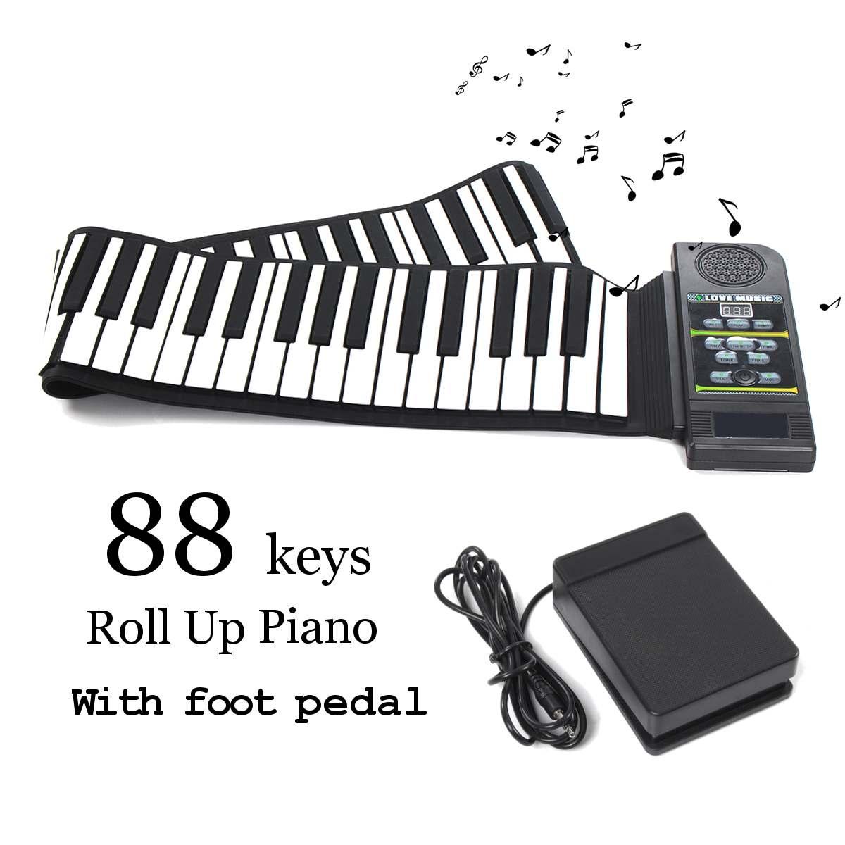 88 touches retrousser Piano électronique clavier souple silicone Flexible Piano + soutenir pédale MIDI avec haut-parleur fort enfants cadeau d'anniversaire