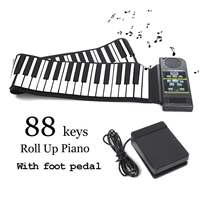 88 Key Roll Up Piano Electronic Soft Keyboard Silicon Flexible Piano + Sustain Pedal MIDI with Loud Speaker Kids Birthday Gift