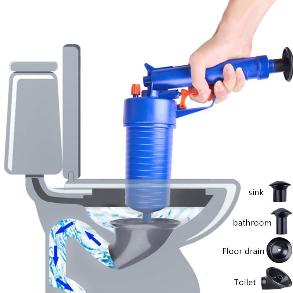 Nuevo desatascador de fregadero Manual potente de alta presión, desatascador de desagüe de aire para el hogar, bomba/pistola/limpiador/abridor de plástico, desatascador de inodoro