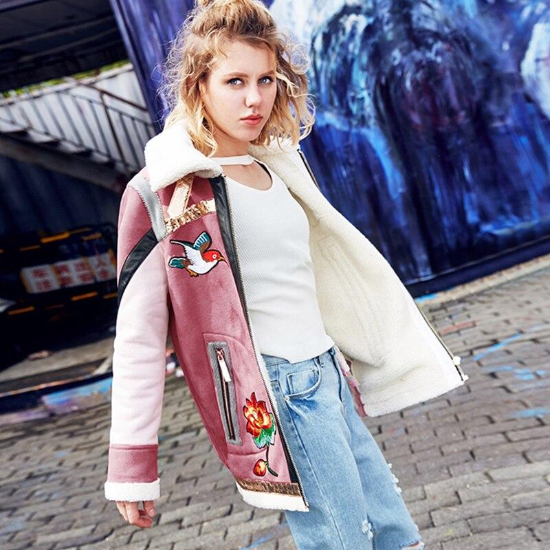 Zipper D'hiver Pardessus Veste Pink Marque Femmes Spliced Flocage Automne 2018 Survêtement Oiseau Y604 Fleur Broderie Femelle Parkas Épais 0ZRU8zq