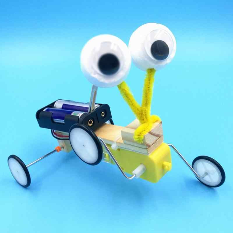 DIY bilim deney oyuncaklar elektrikli ahşap Robot sürüngen Model çocuk buluş oyuncaklar monte doğum günü hediyeleri uzaktan kumanda