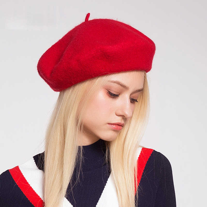 ba596f8b1c11c ... Elegant Lady Women Wool Felt Warm French Classic Beret Beanie Slouch  Hat Cap Tam ...