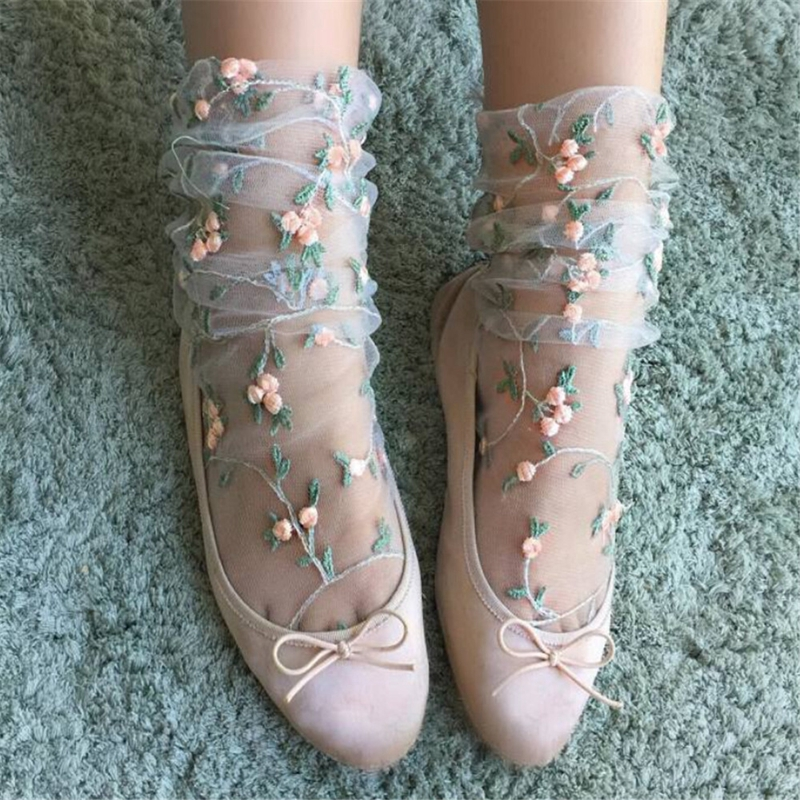 Vintage Women Ruffle Bow Fishnet Ankle High Socks Retro Mesh Lace Floral Fish Net Short Socks 2019