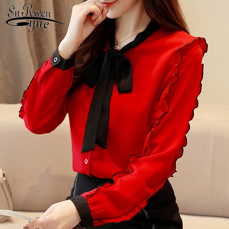 Fashion Womens Tops And Blouses 2019 Red Chiffon Blouse Shirt Long Sleeve Women Shirts Bow Collar Office Blouse Women 1318 40