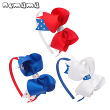 ncmama Hair Accessories 4th of July Headband for Girls USA Bows Band Red Blue White Kids Festival Party Hairband