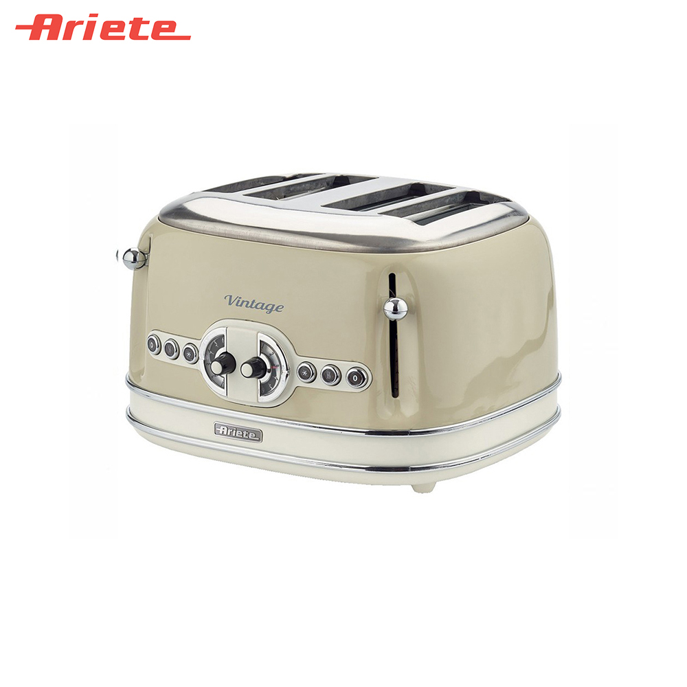 Toasters Ariete 8003705114937 Household Automatic Bread Toaster Baking Breakfast Machine Stainless steel 4 Slices Bread Maker sandwich makers philips bread household baking 2 slices slots for breakfast toast machine automatic zipper