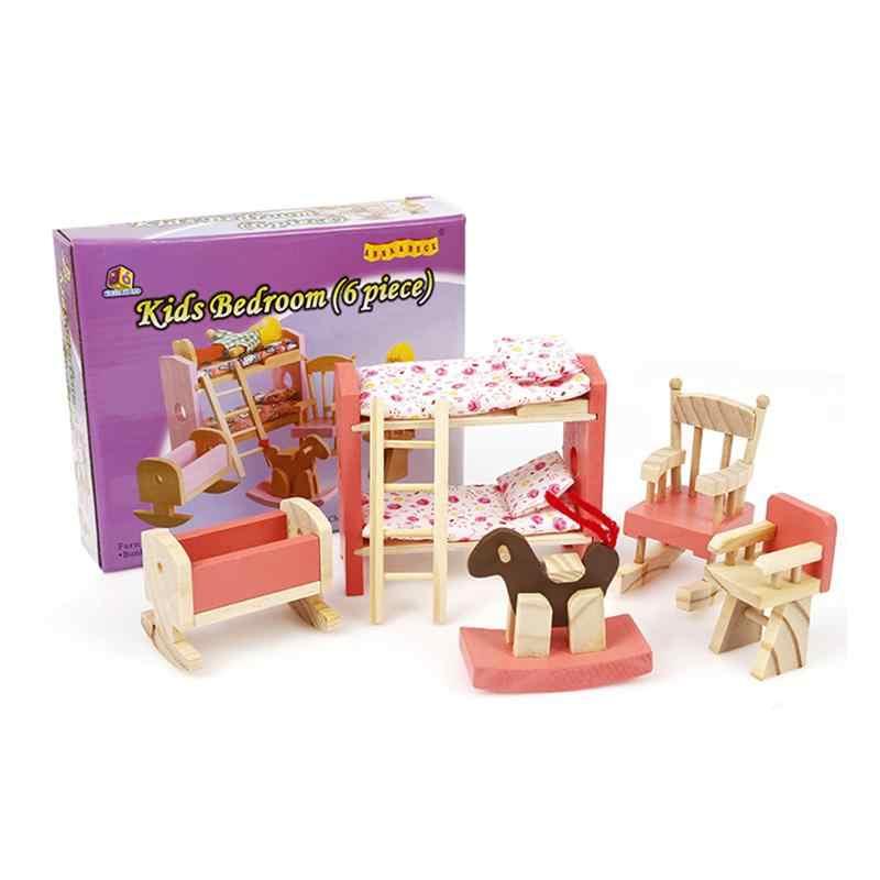 Деревянный дом миниатюрная мебель детская комната розовый спальня комплект Дети кукольный домик мебель игрушечные лошадки для маленьких девочек