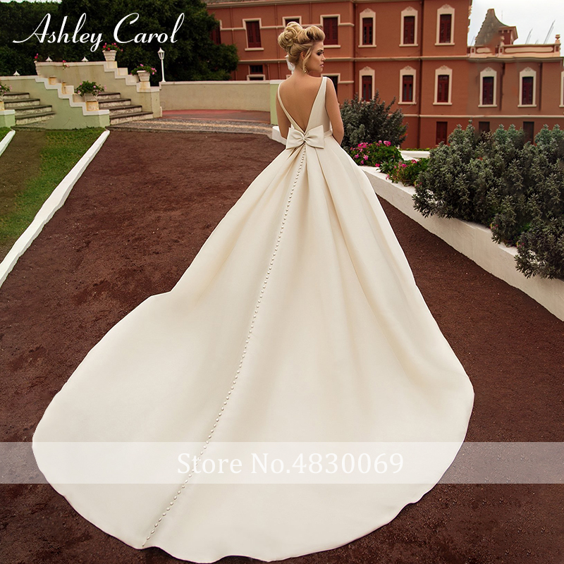 Image 2 - Ashley Carol Sexy Backless Bow Soft Satin Princess Wedding Dress 2019 New Elegant Scoop Sleeveless Simple Vintage Wedding Gowns-in Wedding Dresses from Weddings & Events