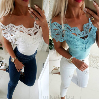 цена на Womens 2019 Casual Cold shoulder Lace Patchwork Slim T-Shirt Solid Color Slash Neck Top Ladies Sleeveless Tops Elegant
