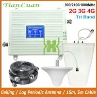 TianLuan Repetidor De Sinal Celular 2100MHz 900MHz 1800MHz Sinal Móvel Impulsionador 2G 3G W CDMA 4G LTE FDD GSM Amplificador de Sinal|Estação de retransmissão| |  -